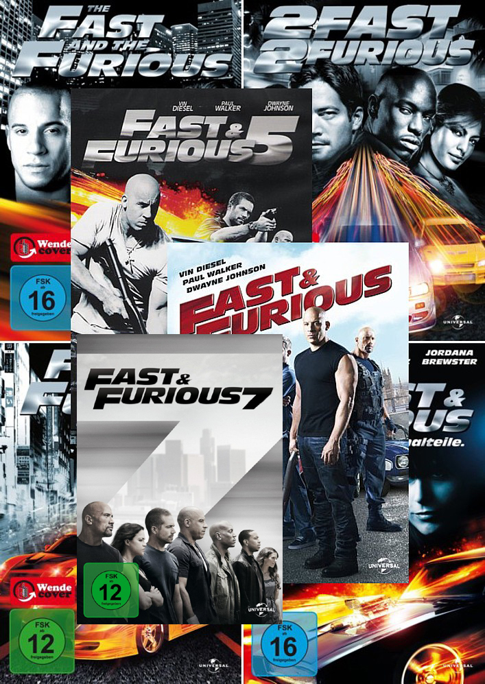 the fast and the furious 1 7 collection paul walker dvd 500 ebay. Black Bedroom Furniture Sets. Home Design Ideas