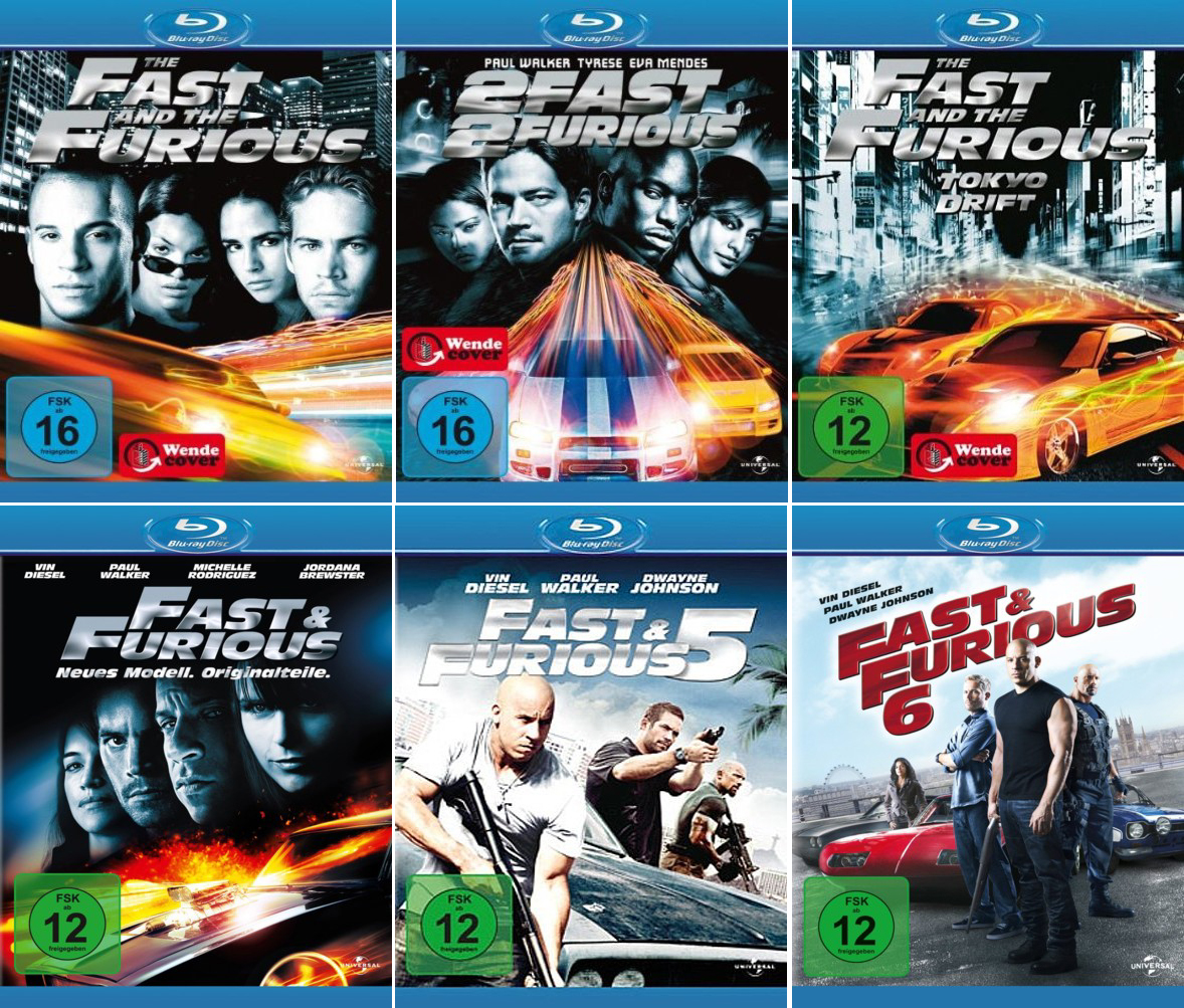 the fast and the furious 1 6 paul walker blu ray. Black Bedroom Furniture Sets. Home Design Ideas